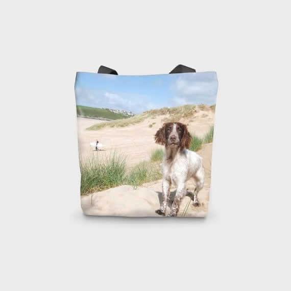Canvas Printed Spaniel Beach Bag