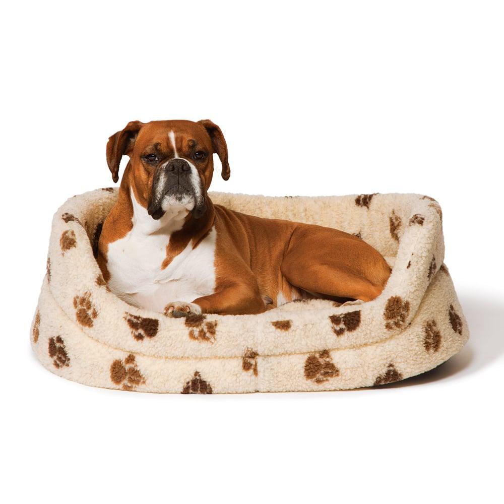 Fleece Beige Oval Slumber Bed – Danish Design Dog Beds